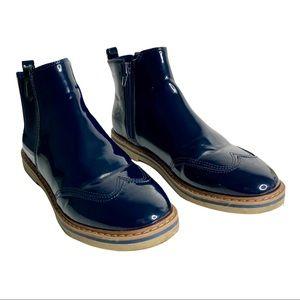 Zara Blue Patten Leather Chelsea Boots EU 36